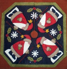 Oley Valley Primitives ~ Santas on Parade Feather Tree Skirt