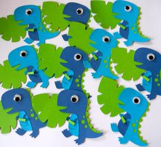 Blue and Green Dinosaur Party Labels by buckeyepaperscissors, $8.00