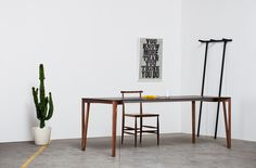Decapo table, Pelleossa chair and Anacleto clothes hanger, by Miniforms; www.cubo44.it