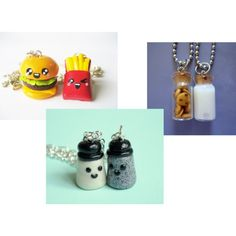 BFF necklaces - I like the burgers and fries, and the milk and cookies!