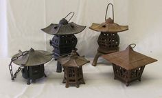 Cast Iron Japanese Lanterns | 1339: 5 Cast Iron Japanese Lanterns 13'' x 9'' : Lot 1339