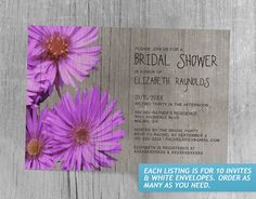 Rustic Frikart's Aster Bridal Shower Invitations