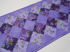 Quilted Table Runner in Purple and Lavender Floral Quilted Love this in shades of blues