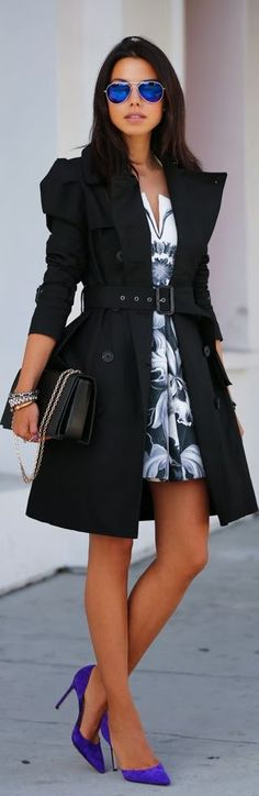 This great halter dress looks so good paired with bright blue heels and a simple black trench coat