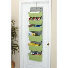 Over the door organization gets a bright boost with Household Essentials 6-Pouch Pocket Pantry and Closet Organizer. It makes grab-and-go sorting and organization simple and efficient thanks to its easy-access pockets and outward tapered design. And its narrow footprint (just 15 inches wide) means it fits on narrow linen closet doors too!). With hooks for residential (1.5 inches deep) and commercial (2 inches deep) door, its a versatile storage solution. Each storage pocket is narrower at…