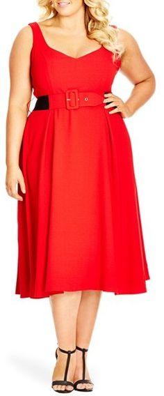 Plus Size Women's City Chic Belted Sweetheart Neckline Tea Length Dress, Size Medium - Red