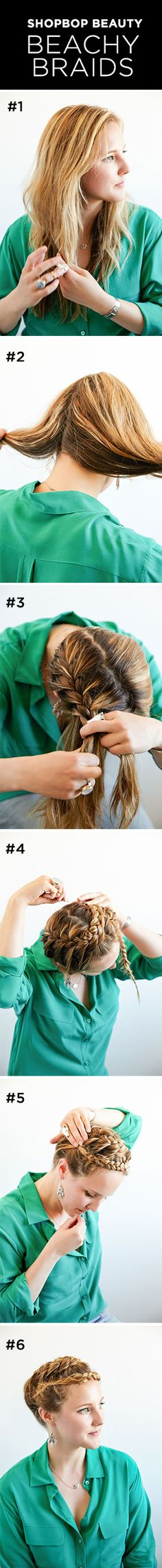 Shopbop Beauty | Beachy Braids  We turned to our resident braiding expert for a step-by-step guide to the perfect beachy braids.   See her how-to on Shoptalk> http://blog.shopbop.com/shopbop-beauty-beachy-braids?all=SN_pin_130624