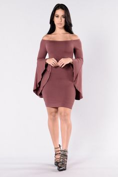 Available in Black and Plum - Fitted Dress - Off Shoulder - Long Bell  Sleeves