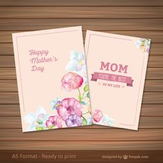 Mothers day card in watercolor style Free Vector