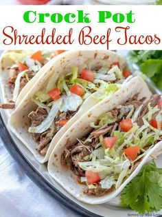 Kick up your Taco Tuesday with this Easy Crock Pot Shredded Beef Tacos recipe. Slow cooked to perfection. Kick up your Taco Tuesday with this Easy Crock Pot Shredded Beef Tacos recipe. Slow cooked to perfection. Slow Cooker Shredded Beef, Shredded Beef Tacos, Crock Pot Slow Cooker, Crock Pot Cooking, Slow Cooker Recipes, Crockpot Recipes, Crock Pots, Freezer Recipes, Shredded Chicken