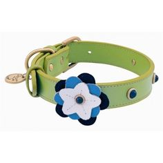 "A Happy Campers dog collar will make you and your dog happy campers! That's because each collar is handcrafted from genuine leather and features a ""happy"" flower design and gem stone embellishment."