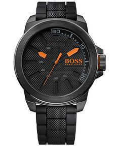 Hugo Boss Men's Boss Orange Black Silicone Strap Watch 50mm 1513004