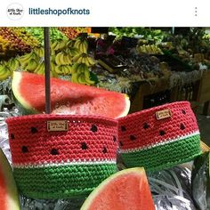 Watermelon (no pattern) Crochet Case, Crochet Storage, Crochet Fabric, Fabric Yarn, Tapestry Crochet, Crochet Purses, Love Crochet, Knit Crochet, Crochet Patterns