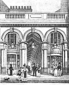 Lithograph illustration of Burlington Arcade, London, UK (1819). (Source: Joe Pie Picture Library)