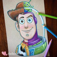 This illustrator has fun mixing famous characters to create a single face - Dibujos - Disney Characters Alien Do Toy Story, Toy Story 3, Cute Disney Drawings, Cute Drawings, Drawing Disney, Disney Kunst, Disney Art, Disney Pixar, Walt Disney