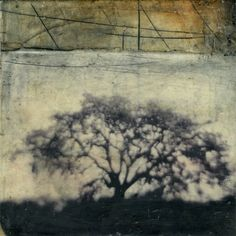 Treeness of Trees, Sept. 2012, Bridgette Guerzon Mills, encaustic and mixed media, 6 x 6 in., Chicago.