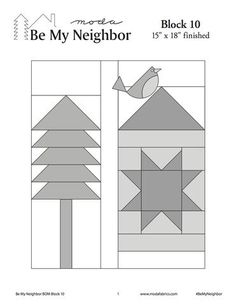 "To celebrate our community of quilters, we've built a neighborhood. Welcome to the Moda'hood! 16 free downloadable ""blueprints""-block pattern that will run thro"