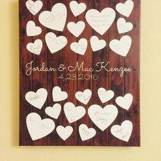 Rustic Hearts Wedding Guest Book Alternative | 25 Signature Spaces | Signed Peachwik Print | Rustic Wedding | Customer Photo | Wedding Color - White | peachwik.com