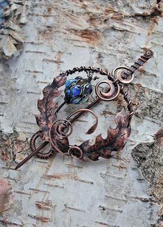 Copper thistle brooch with handmade lampwork bead - Hairpin
