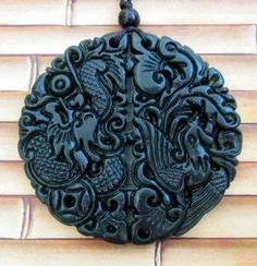 Black Green Jade Dragon Phoenix Coin Ruyi As One Wishes Amulet Pendant $18.95 free shipping