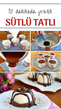 Practical Milk Dessert in 10 Minutes – Delicious Recipes - Nachtisch Turkish Recipes, Ethnic Recipes, Milk Dessert, Recipe Mix, Food Platters, Desert Recipes, Vegan Recipes, Deserts, Brunch
