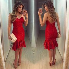 Red Patchwork Lace Ruffle V-neck Fashion Mini Dress