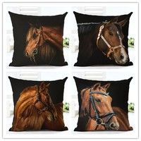 Wish   2016 Fashion Linen Cushion Cover Horse Print Pillowcase Bed Sofa Home Decorative Pillow Cover Almofadas Cojines