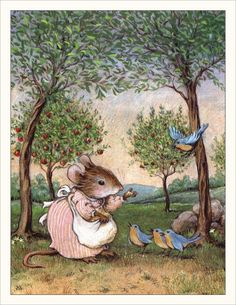 Note Card Set - Feeding the Bluebirds Note Cards - Set of Wee Forest Folk. Illustration by Willy Petersen. Susan Wheeler, Cute Mouse, Children's Book Illustration, Book Illustrations, Whimsical Art, Bluebirds, Cute Art, Illustrators, Cute Pictures