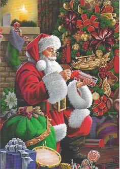 Holidays Christmas Santa Cross Stitch Pattern -Christmas For The Animals- Christmas Red Truck, Christmas Scenes, Father Christmas, Santa Christmas, Christmas Pictures, Christmas Holidays, Christmas Crafts, Christmas Decorations, Xmas