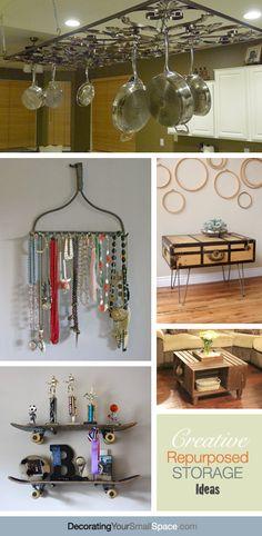 Creative Repurposed Storage Ideas! - love the idea for the pot rack