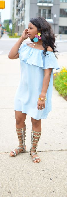 Denim Dress, Spring Outfit Idea, Summer Outfit Idea, Off the shoulder dress