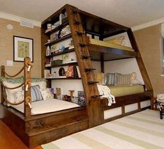 Reading Nook bunk Bed...these are the BEST Bunk Bed Ideas!