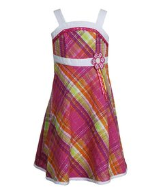 Look what I found on #zulily! Pink & Green Plaid Princess Dress - Girls by Youngland #zulilyfinds