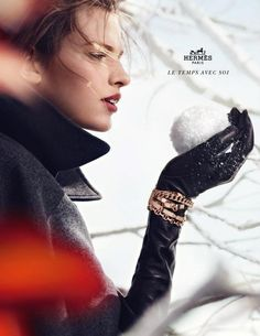Recently, Hermes 2012 Fall Winter Campaign is launched,models Bette Franke and Wouter Peelen deduced,shot by photographer Nathaniel Gol. Ad Fashion, Editorial Fashion, Fashion Models, Autumn Winter Fashion, Fall Winter, Winter Fairy, Winter White, Bette Franke, Hermes Jewelry