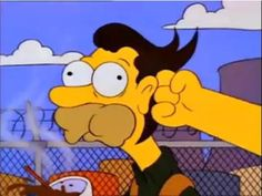 Tomorrow I'm going to punch Lenny in the back of the head Simpson Wave, Goat Cartoon, Simpsons Meme, Batman, Homer Simpson, Futurama, Just Giving, My Childhood, Movies And Tv Shows
