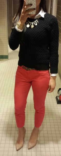 Business casual. Colored pants