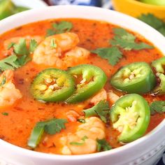 Spicy Shrimp Soup is a copycat recipe from our favorite Ecuadorian restaurant. Spicy, garlicky, and comforting, you will eat bowl after bowl of this easy soup recipe! Best Soup Recipes, Spicy Recipes, Seafood Recipes, Asian Recipes, Mexican Food Recipes, Vegetarian Recipes, Cooking Recipes, Healthy Recipes, Thai Curry Recipes