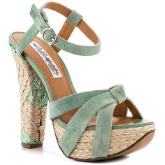 Create a fashion frenzy with this pretty spring sandal by Naughty Monkey. A light mint suede envelopes the upper, vamp and adjustable ankle strap. A unique combination of sparkly sequin and espadrille wrap the 5 inch block heel and 1 inch platform. Mint Heels, Shoes Heels Wedges, Pumps, Spring Sandals, Shoe Boots, Shoe Bag, Shoe Gallery, All About Shoes, Green Shoes