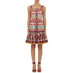 Dolce & Gabbana Women's Cotton Fit & Flare Dress (€2.280) ❤ liked on Polyvore featuring dresses, red, cotton fit and flare dress, sleeveless dress, red rose dress, fit and flare dress and multi-color dress