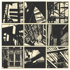 Nine inch hand cut papercuts from Edinburgh parliament series Architecture Drawing Sketchbooks, Linoprint, A Level Art, Linocut Prints, Urban Landscape, Woodblock Print, Art Sketchbook, Edinburgh, Light In The Dark