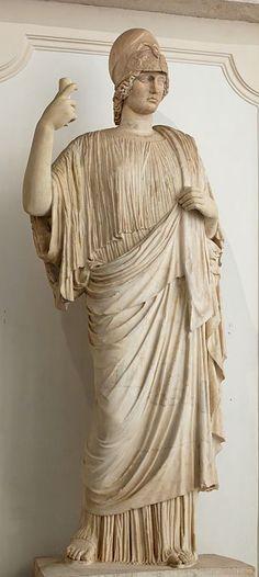Minerva (Athena), Roman statue (marble) copy of Greek original, 1st–2nd century AD (original 5th c. BC), (Musei Capitolini, Rome).