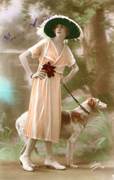 ❤ =^..^= ❤  sydneyflapper: Early 1920s tinted postcard of lady and Borzoi