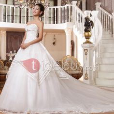 Dramantic Strapless A-Line Lace Cathedral Train Wedding Dress : Tidebuy.com