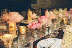 Glitter wedding centrepieces