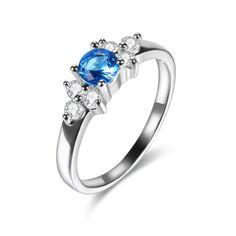 5mm Round Gemstone Prong Set Cubic Zirconia CZ Flower Engagement Ring Wholesale China