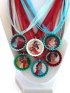 6 Disney  Princess Elena Of Avalor   3D Bottle Cap Necklace  Party Favors…