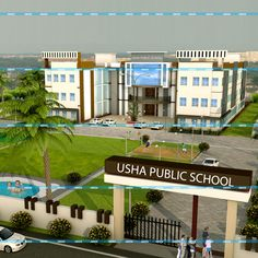"3D School Elevation Design of ""Usha Public School"" #3D #Elevation #3DDesign #3DImage #4DCinema #3DSmax #BrandDesign #Design #3DElevation"