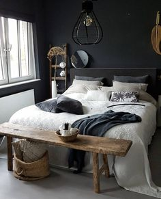 baasket, footer bench, wall colour, raw materials contrasted bya dark colour palette