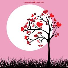 Tree Leaves Vectors, Photos and PSD files Rosas Vector, Valentine Tree, Wall Painting Decor, Retro Background, Valentines Day Background, Valentine's Day Greeting Cards, Ideias Diy, Leaves Vector, Couple Wallpaper