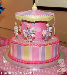Social 0413 | Buttercream iced cake with fondant embellishments and chocolate horses are used to create this awesome carousel cake. Carousel Cake, Ice Cake, Carousels, Specialty Cakes, Fondant Cakes, Gum Paste, Cake Ideas, Birthday Ideas, Embellishments